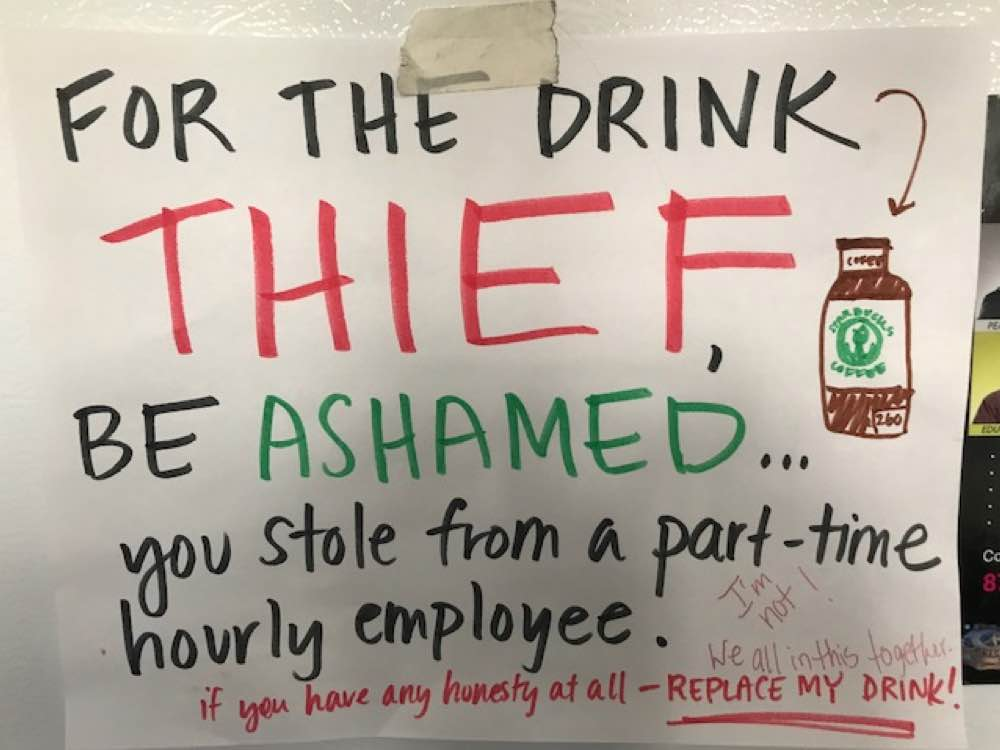 Drink Thief Sign